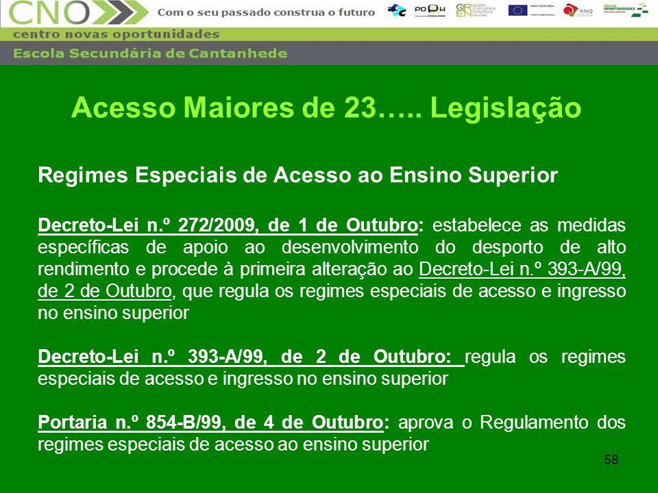 58 Regimes Especiais de Acesso ao Ensino Superior Decreto-Lei n.º 272/2009, de 1 de Outubro: estabelece as medidas específicas de apoio ao desenvolvim