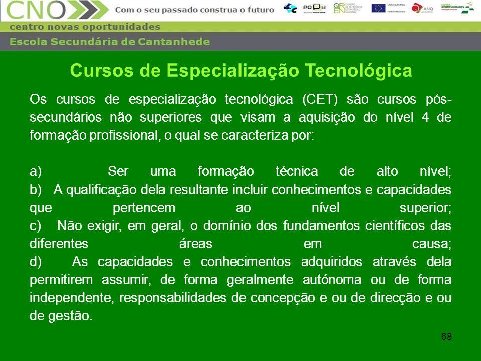 68 Cursos de Especialização Tecnológica Os cursos de especialização tecnológica (CET) são cursos pós- secundários não superiores que visam a aquisição