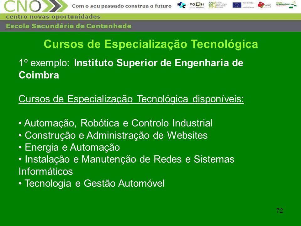 72 Cursos de Especialização Tecnológica 1º exemplo: Instituto Superior de Engenharia de Coimbra Cursos de Especialização Tecnológica disponíveis: Auto