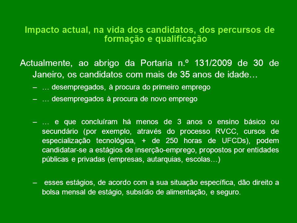 Impacto actual, na vida dos candidatos, dos percursos de formação e qualificação Actualmente, ao abrigo da Portaria n.º 131/2009 de 30 de Janeiro, os