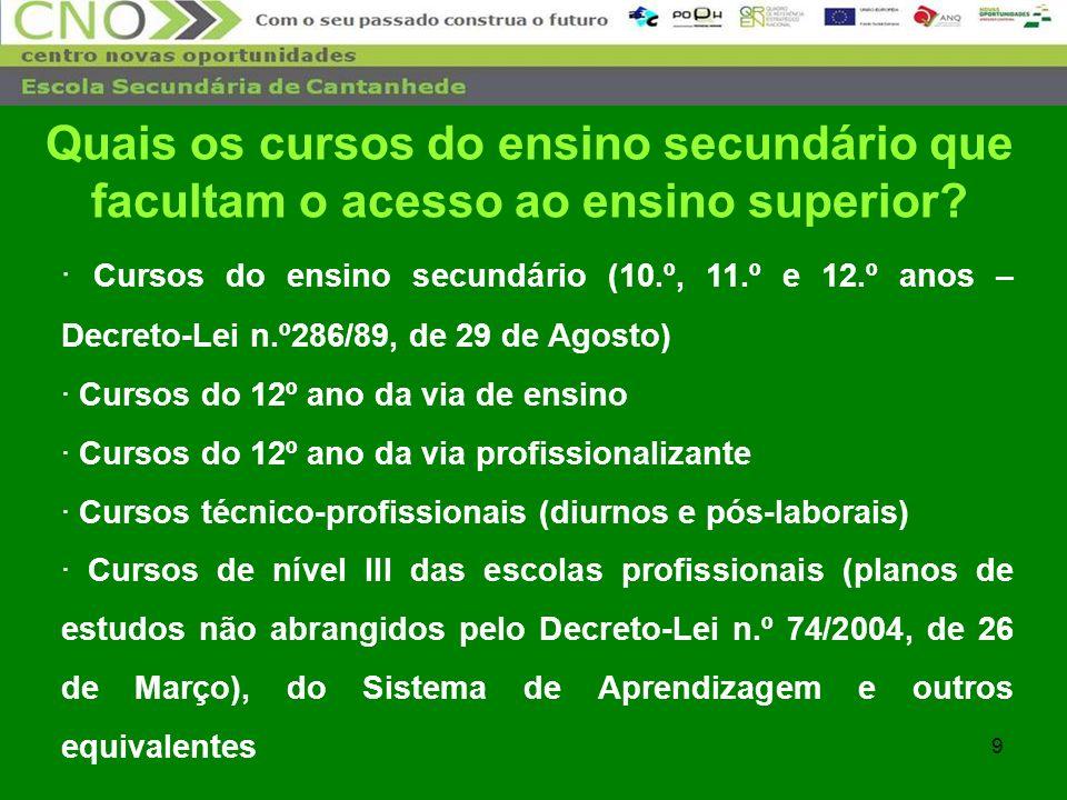 9 · Cursos do ensino secundário (10.º, 11.º e 12.º anos – Decreto-Lei n.º286/89, de 29 de Agosto) · Cursos do 12º ano da via de ensino · Cursos do 12º