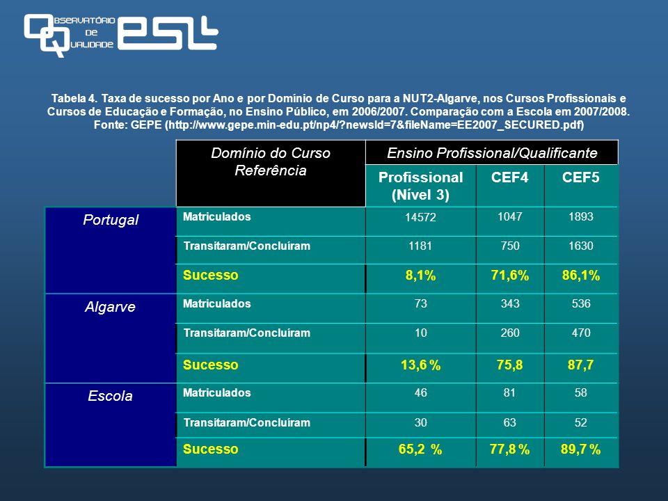 Domínio do Curso Referência Ensino Profissional/Qualificante Profissional (Nível 3) CEF4CEF5 Portugal Matriculados1457210471893 Transitaram/Concluíram