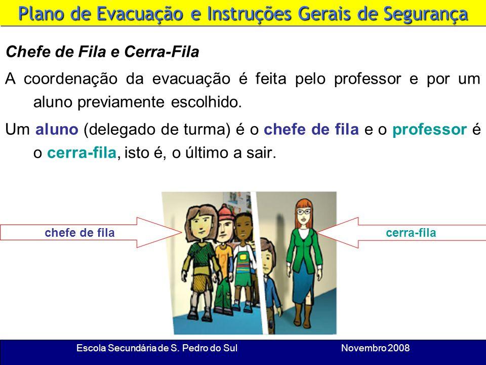 Escola Secundária de S. Pedro do Sul Novembro 2008 Plano de Evacuação e Instruções Gerais de Segurança Duas Saídas Procura conhecer as duas saídas do