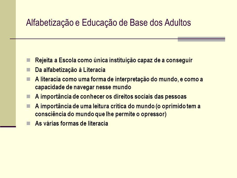 Alfabetização e Educação de Base dos Adultos Rejeita a Escola como única instituição capaz de a conseguir Da alfabetização à Literacia A literacia com