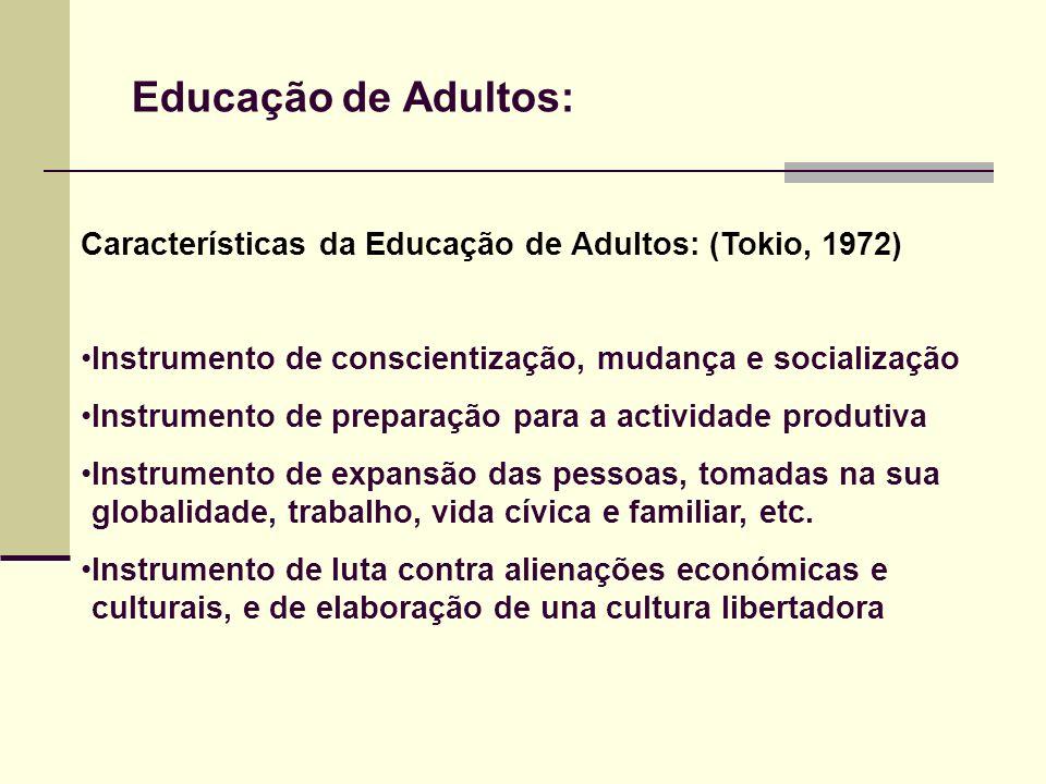 Educação de Adultos: Características da Educação de Adultos: (Tokio, 1972) Instrumento de conscientização, mudança e socialização Instrumento de prepa