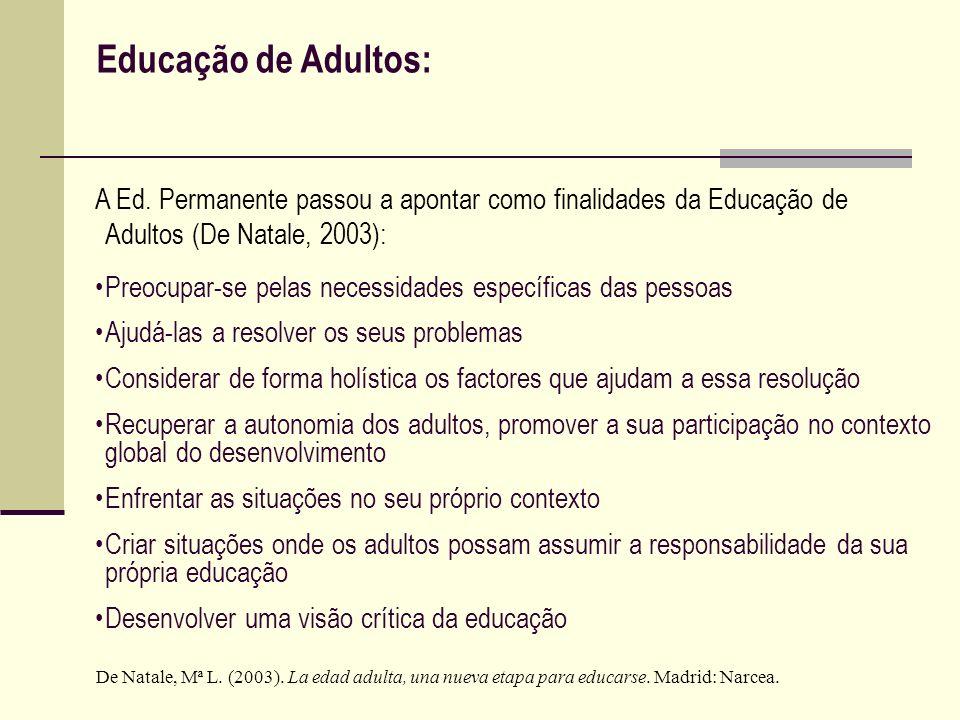 Educação de Adultos: A Ed. Permanente passou a apontar como finalidades da Educação de Adultos (De Natale, 2003): Preocupar-se pelas necessidades espe