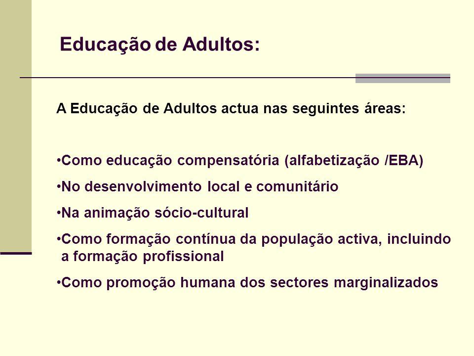 Educação de Adultos: A Educação de Adultos actua nas seguintes áreas: Como educação compensatória (alfabetização /EBA) No desenvolvimento local e comu