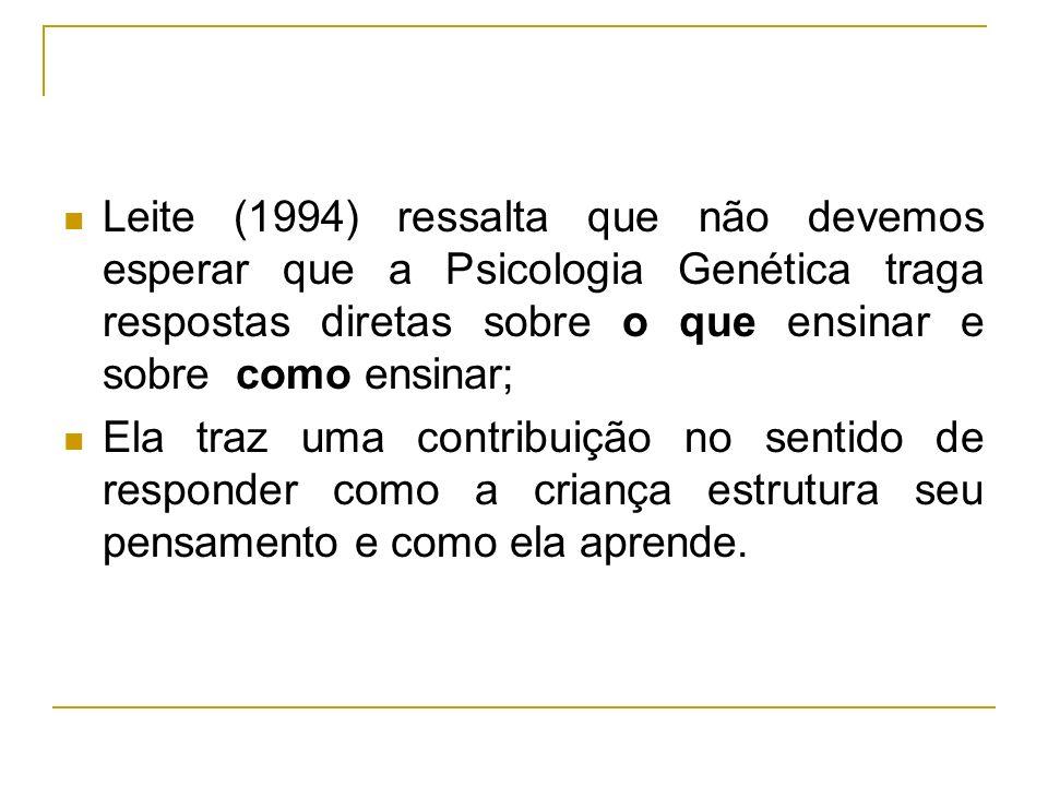 Leite (1994) ressalta que não devemos esperar que a Psicologia Genética traga respostas diretas sobre o que ensinar e sobre como ensinar; Ela traz uma