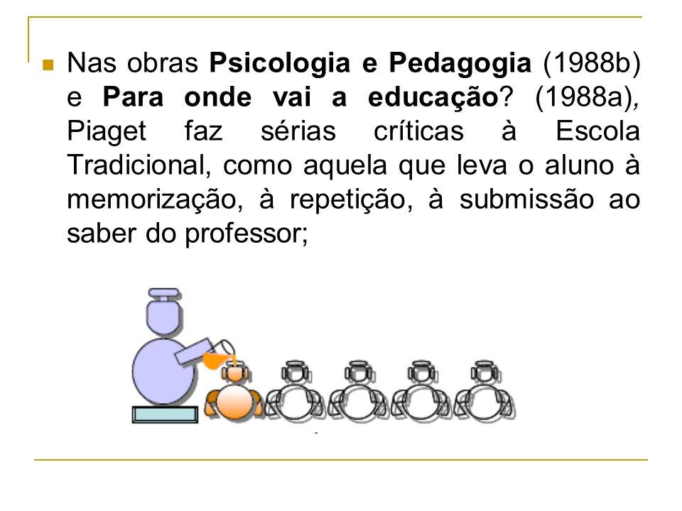 Nas obras Psicologia e Pedagogia (1988b) e Para onde vai a educação? (1988a), Piaget faz sérias críticas à Escola Tradicional, como aquela que leva o
