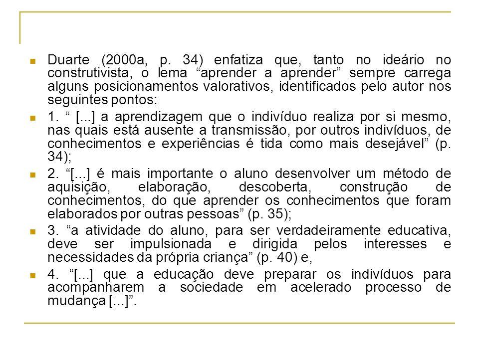 Duarte (2000a, p. 34) enfatiza que, tanto no ideário no construtivista, o lema aprender a aprender sempre carrega alguns posicionamentos valorativos,