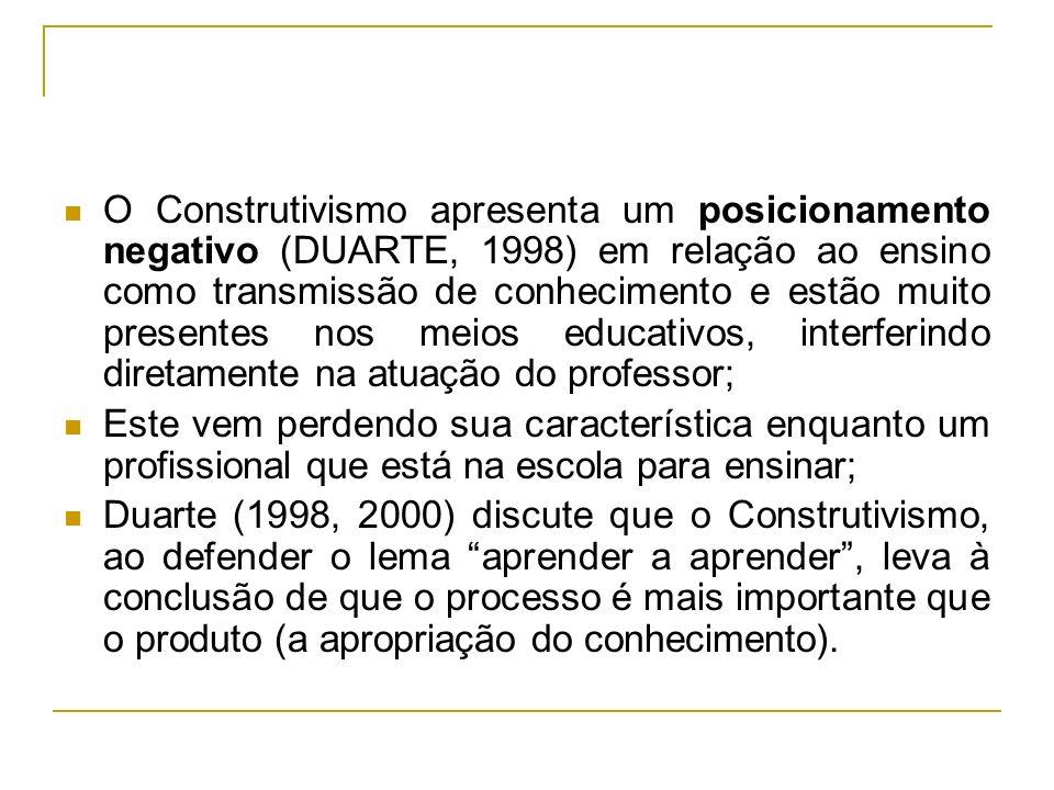 O Construtivismo apresenta um posicionamento negativo (DUARTE, 1998) em relação ao ensino como transmissão de conhecimento e estão muito presentes nos
