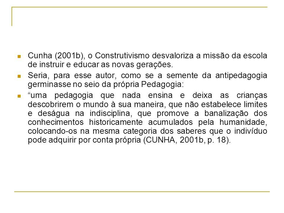 Cunha (2001b), o Construtivismo desvaloriza a missão da escola de instruir e educar as novas gerações. Seria, para esse autor, como se a semente da an