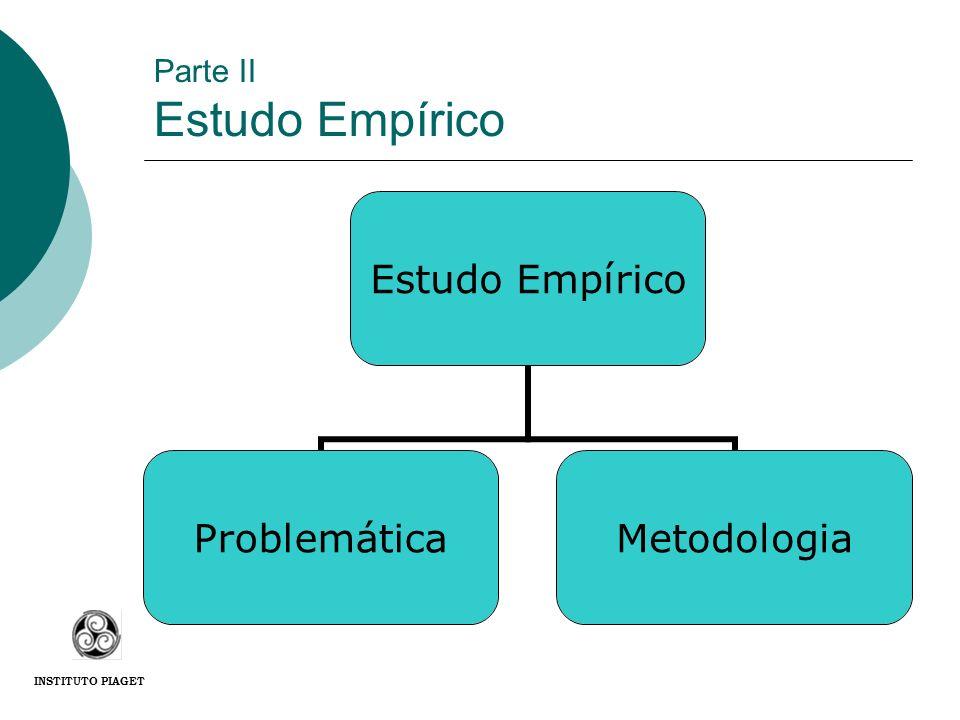 Parte II Estudo Empírico Estudo Empírico ProblemáticaMetodologia INSTITUTO PIAGET