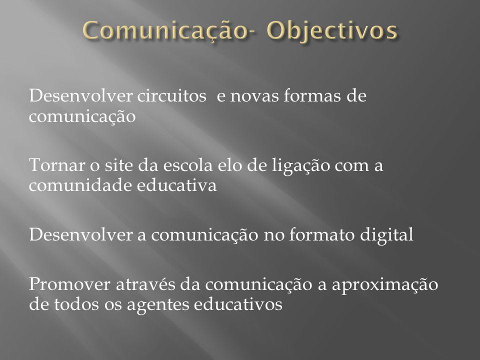 Desenvolver circuitos e novas formas de comunicação Tornar o site da escola elo de ligação com a comunidade educativa Desenvolver a comunicação no for