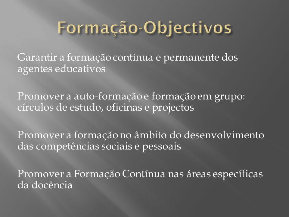 Garantir a formação contínua e permanente dos agentes educativos Promover a auto-formação e formação em grupo: círculos de estudo, oficinas e projecto