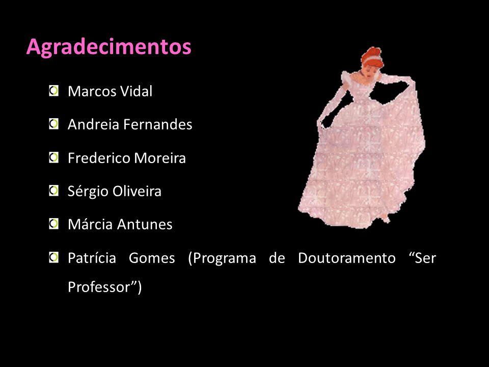 Agradecimentos Marcos Vidal Andreia Fernandes Frederico Moreira Sérgio Oliveira Márcia Antunes Patrícia Gomes (Programa de Doutoramento Ser Professor)