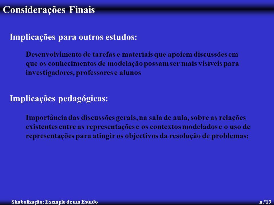 Considerações Finais Simbolização: Exemplo de um Estudo n.º13 Implicações para outros estudos: Desenvolvimento de tarefas e materiais que apoiem discu