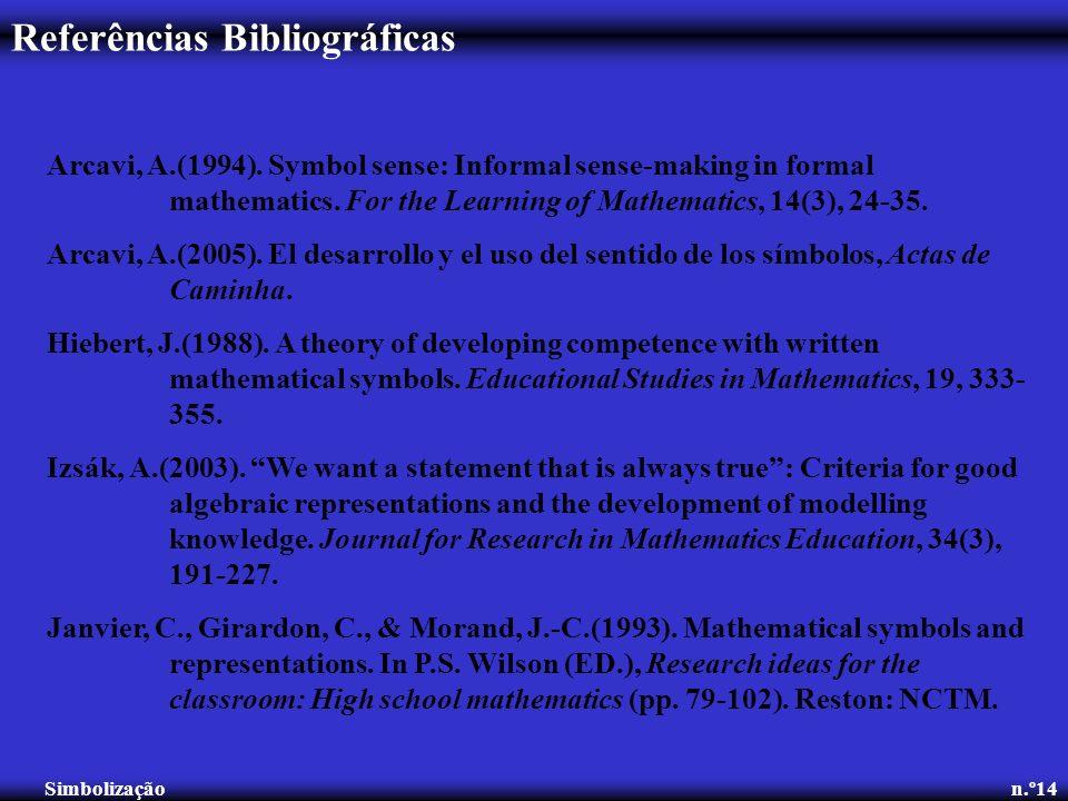 Referências Bibliográficas Simbolização n.º14 Arcavi, A.(1994). Symbol sense: Informal sense-making in formal mathematics. For the Learning of Mathema
