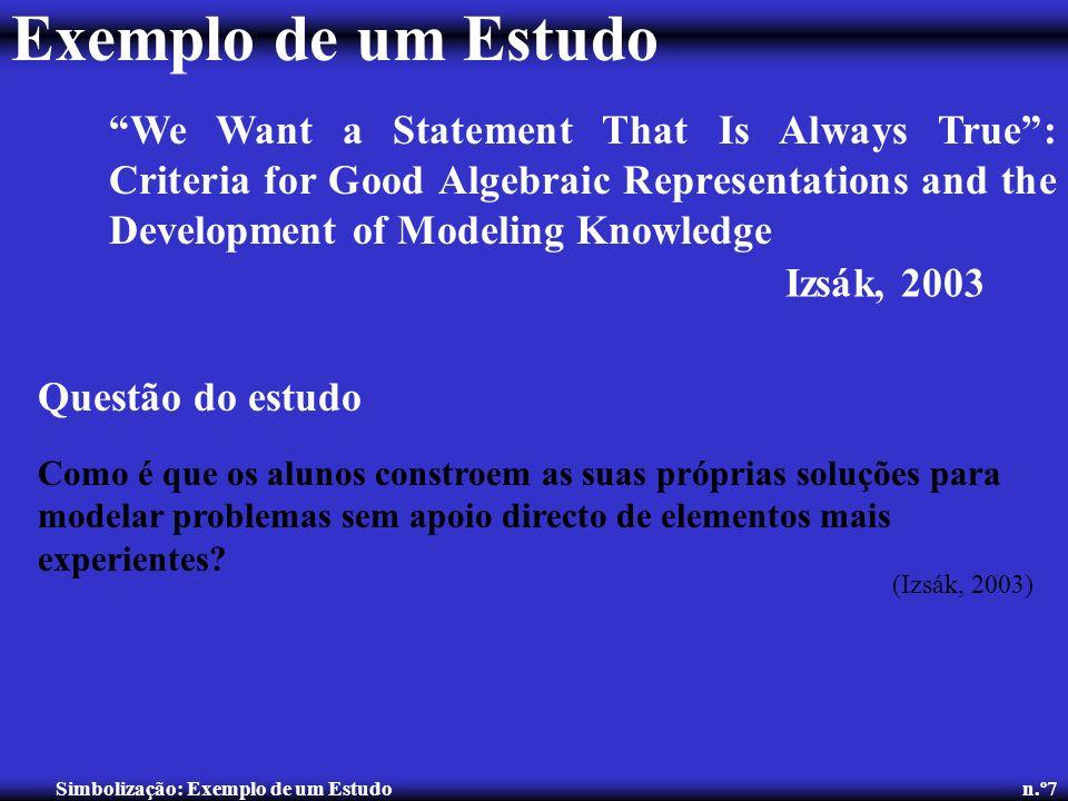Exemplo de um Estudo We Want a Statement That Is Always True: Criteria for Good Algebraic Representations and the Development of Modeling Knowledge Iz