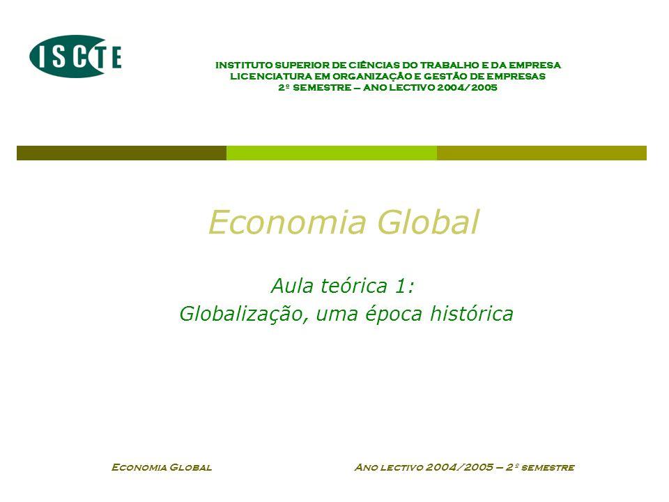 Economia Global Ano lectivo 2004/2005 – 2º semestre Globalização, uma época histórica As principais características do processo de globalização As controvérsias e principais polémicas Os marcos históricos Globalização, Mundialização, Internacionalização e Transnacionalização