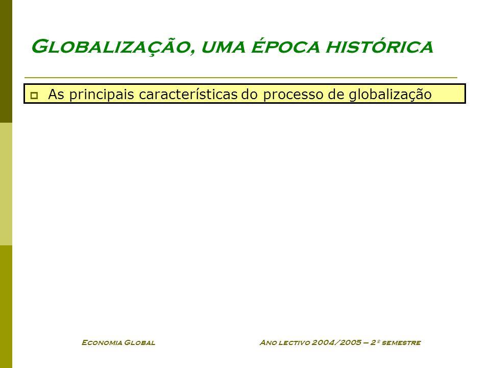 Economia Global Ano lectivo 2004/2005 – 2º semestre Globalização, uma época histórica As principais características do processo de globalização
