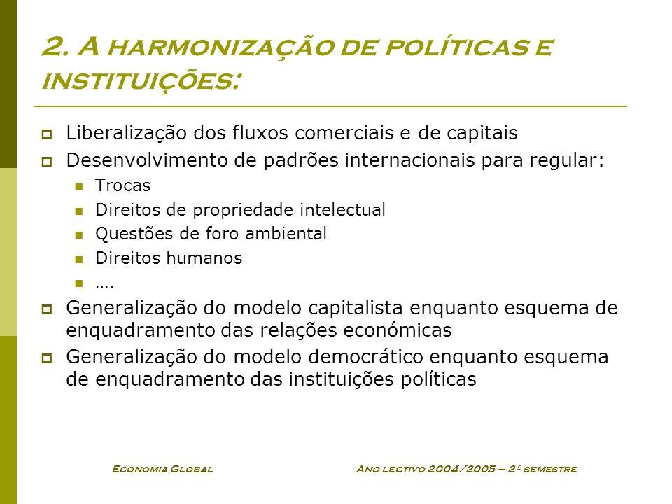Economia Global Ano lectivo 2004/2005 – 2º semestre 2. A harmonização de políticas e instituições: Liberalização dos fluxos comerciais e de capitais D