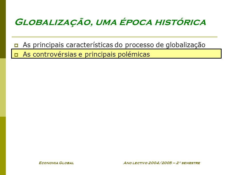 Economia Global Ano lectivo 2004/2005 – 2º semestre Globalização, uma época histórica As principais características do processo de globalização As con