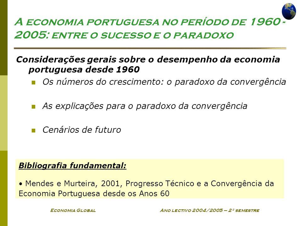 Economia Global Ano lectivo 2004/2005 – 2º semestre 1960-2005 Desempenho Económico superior ao das restantes economias desenvolvidas portugal