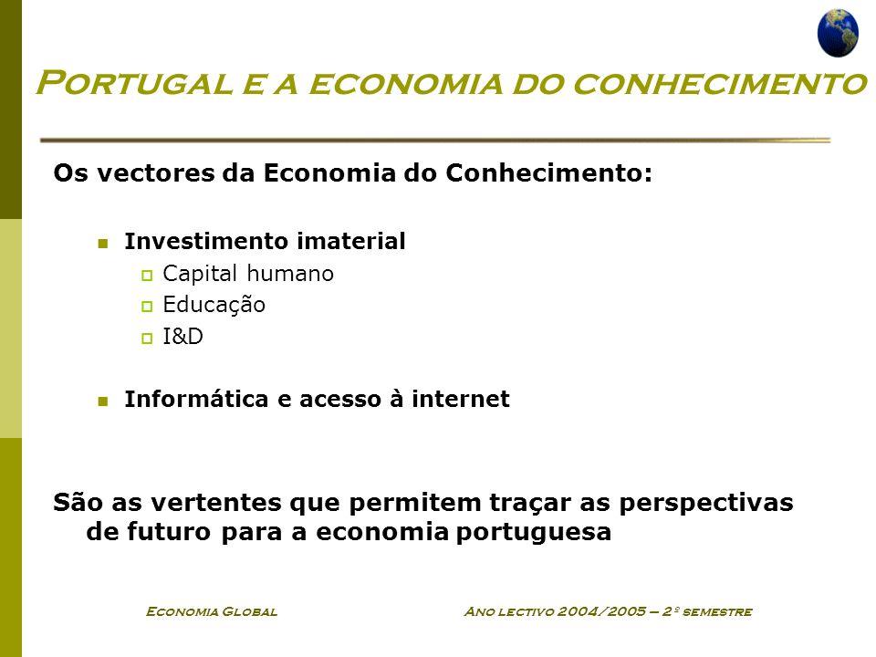 Economia Global Ano lectivo 2004/2005 – 2º semestre Portugal e a economia do conhecimento Os vectores da Economia do Conhecimento: Investimento imater