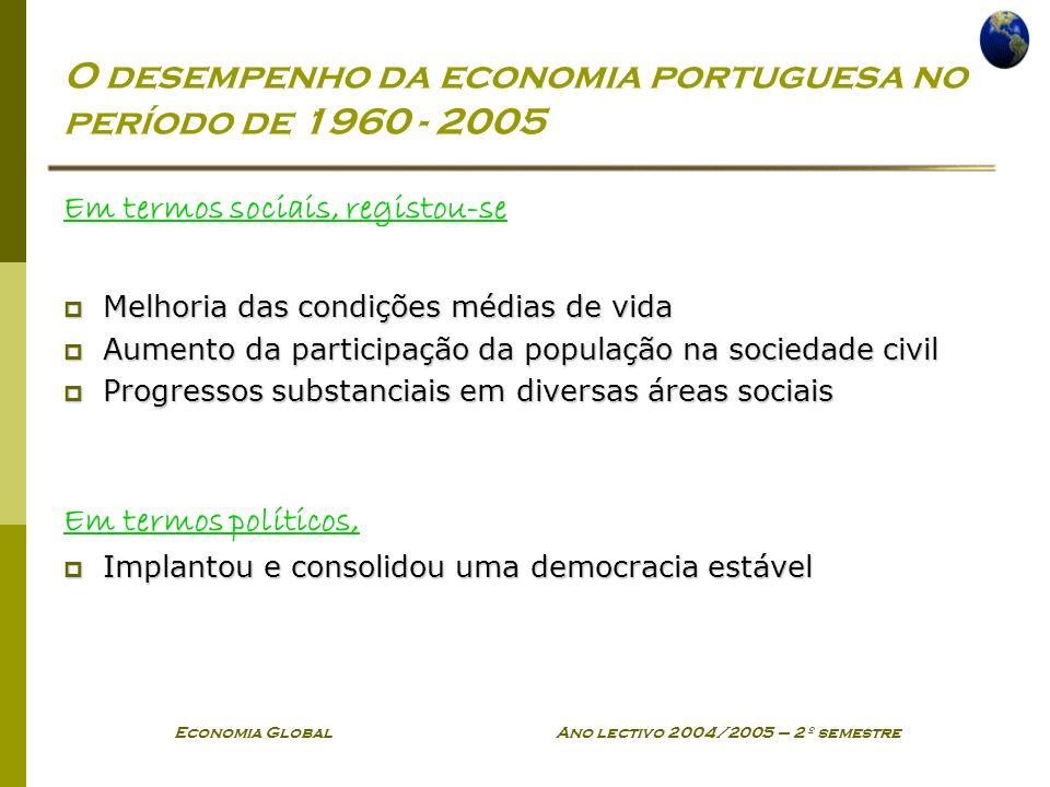 Economia Global Ano lectivo 2004/2005 – 2º semestre O desempenho da economia portuguesa no período de 1960 - 2005 Em termos sociais, registou-se Melho
