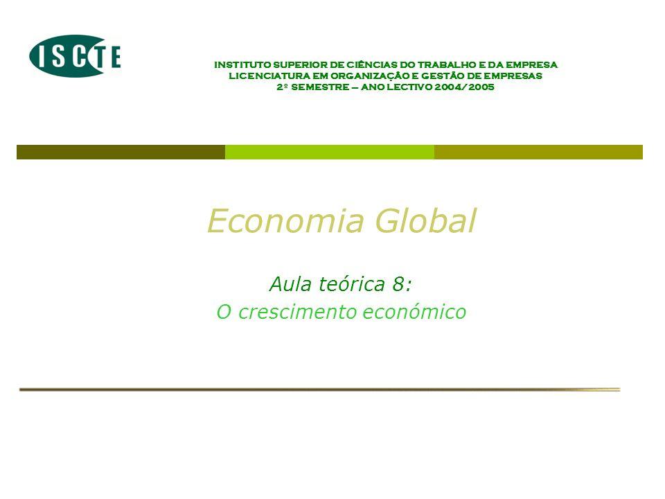 INSTITUTO SUPERIOR DE CIÊNCIAS DO TRABALHO E DA EMPRESA LICENCIATURA EM ORGANIZAÇÂO E GESTÃO DE EMPRESAS 2º SEMESTRE – ANO LECTIVO 2004/2005 Economia Global Aula teórica 8: O crescimento económico