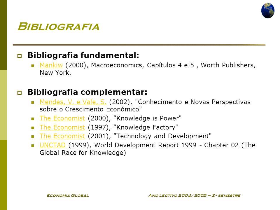 Economia Global Ano lectivo 2004/2005 – 2º semestre Bibliografia Bibliografia fundamental: Mankiw (2000), Macroeconomics, Capítulos 4 e 5, Worth Publishers, New York.