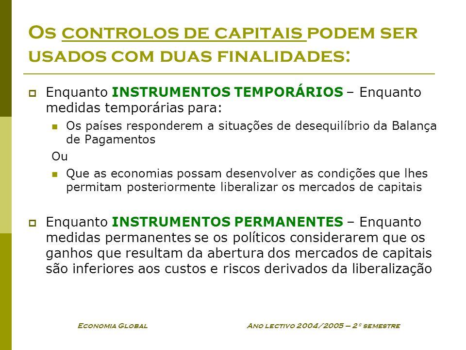 Economia Global Ano lectivo 2004/2005 – 2º semestre Os controlos de capitais podem ser usados com duas finalidades: Enquanto INSTRUMENTOS TEMPORÁRIOS