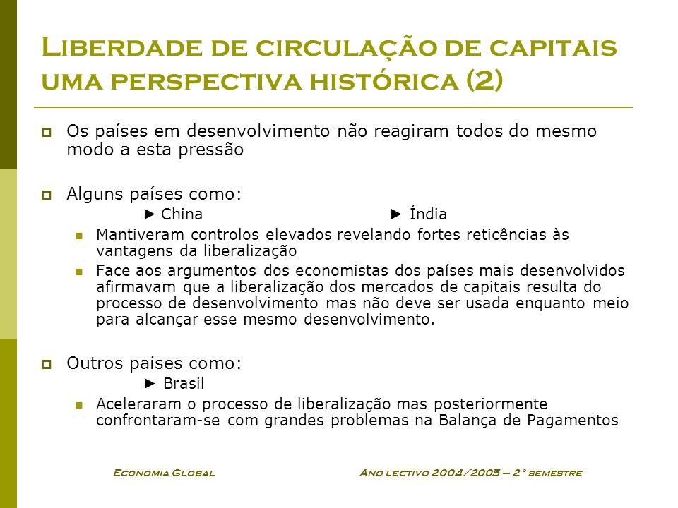 Economia Global Ano lectivo 2004/2005 – 2º semestre Liberdade de circulação de capitais uma perspectiva histórica (2) Os países em desenvolvimento não