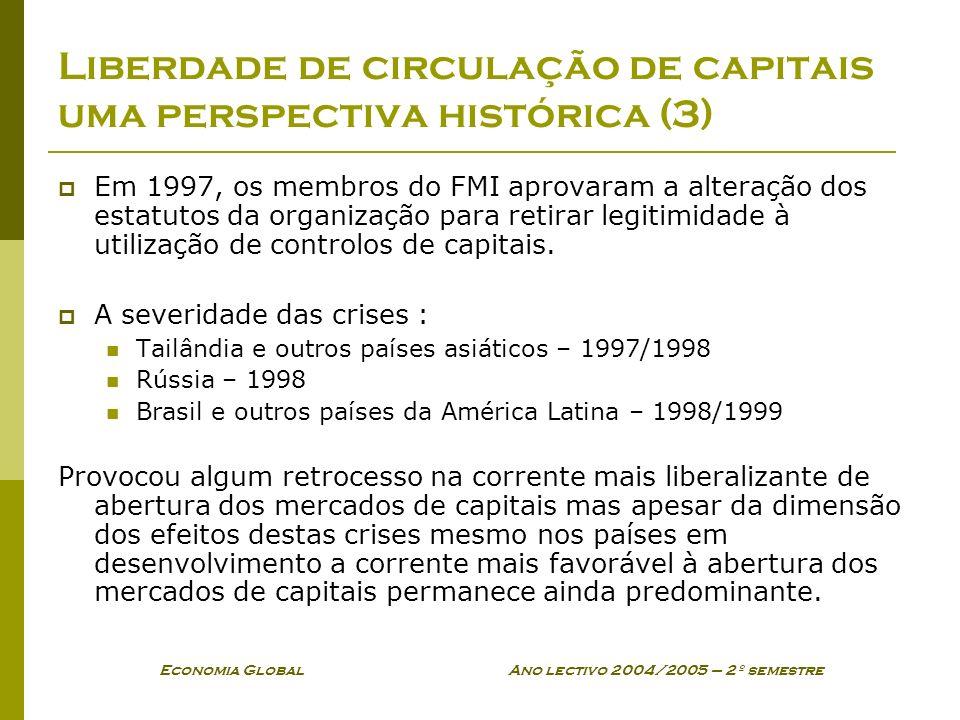 Economia Global Ano lectivo 2004/2005 – 2º semestre Liberdade de circulação de capitais uma perspectiva histórica (3) Em 1997, os membros do FMI aprov