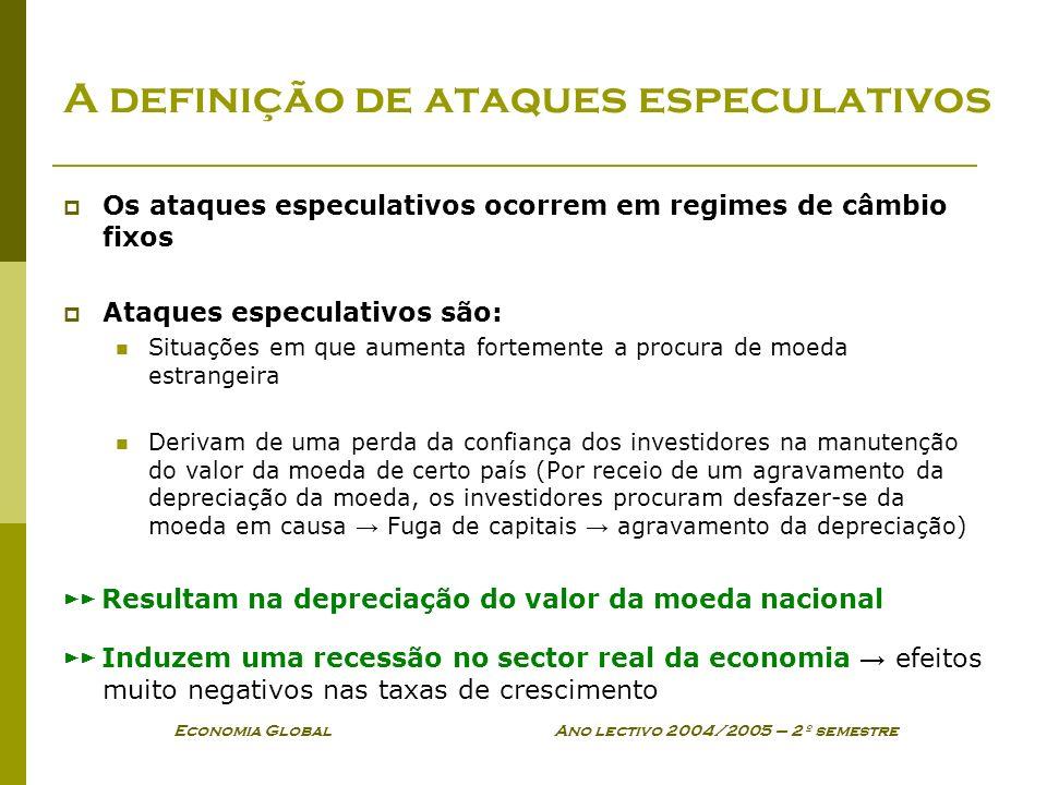 Economia Global Ano lectivo 2004/2005 – 2º semestre A definição de ataques especulativos Os ataques especulativos ocorrem em regimes de câmbio fixos A