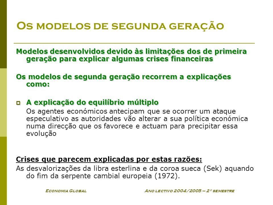Economia Global Ano lectivo 2004/2005 – 2º semestre Os modelos de segunda geração Modelos desenvolvidos devido às limitações dos de primeira geração p