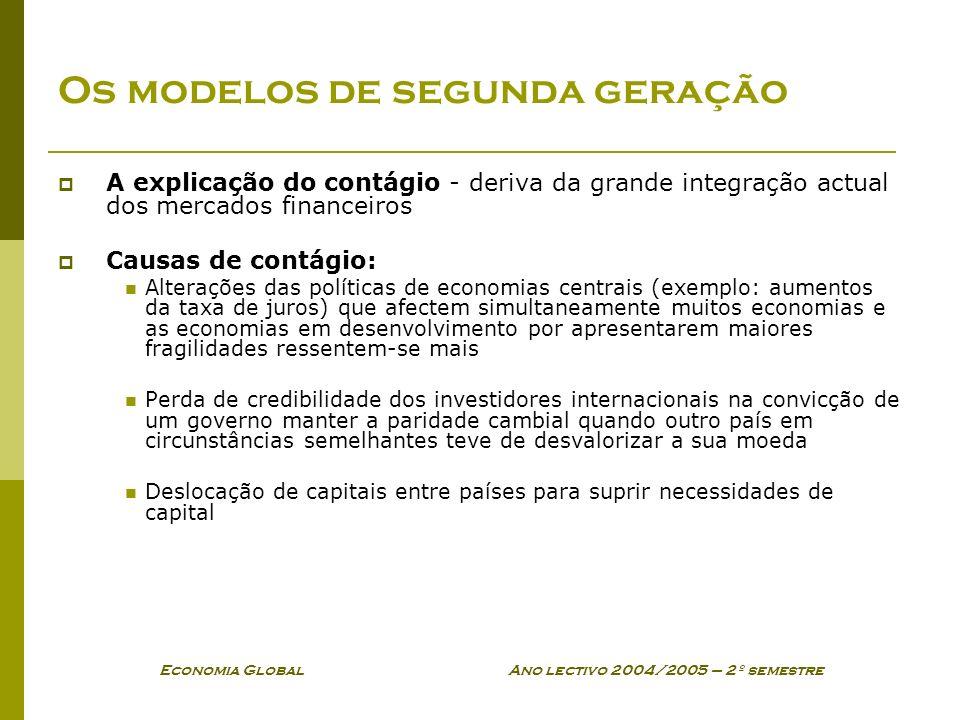 Economia Global Ano lectivo 2004/2005 – 2º semestre Os modelos de segunda geração A explicação do contágio - deriva da grande integração actual dos me