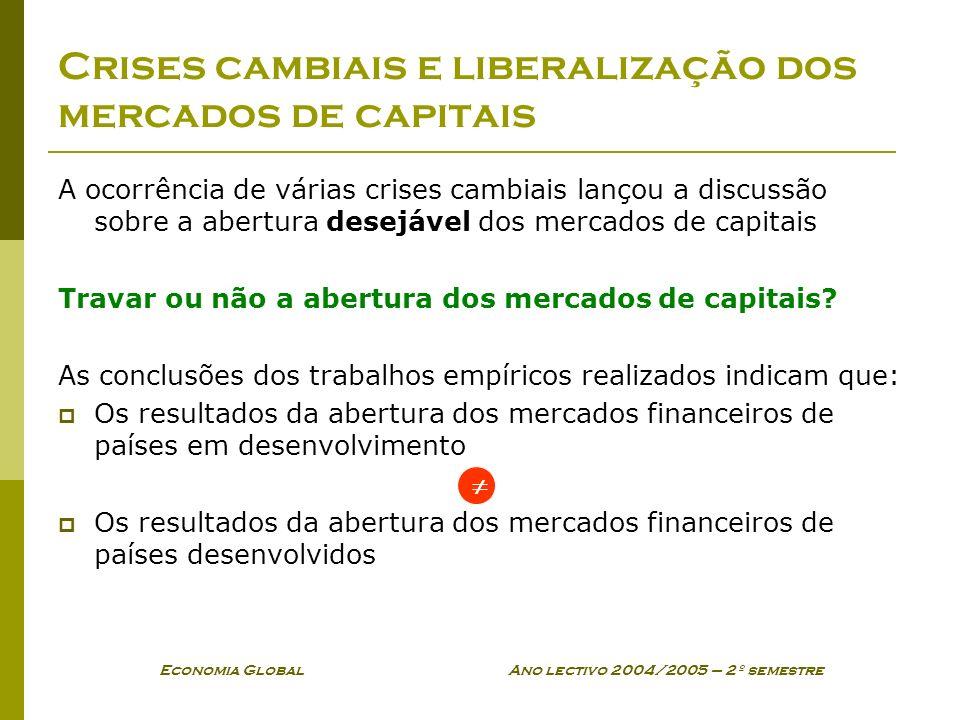 Economia Global Ano lectivo 2004/2005 – 2º semestre Crises cambiais e liberalização dos mercados de capitais A ocorrência de várias crises cambiais la