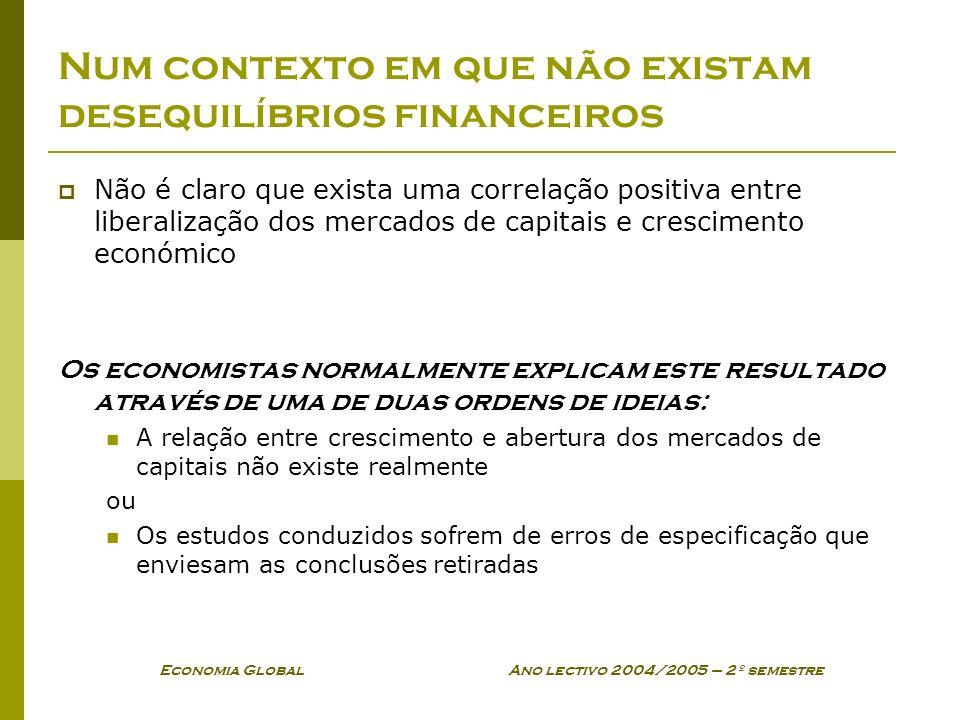 Economia Global Ano lectivo 2004/2005 – 2º semestre Num contexto em que não existam desequilíbrios financeiros Não é claro que exista uma correlação p