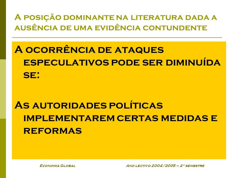 Economia Global Ano lectivo 2004/2005 – 2º semestre A posição dominante na literatura dada a ausência de uma evidência contundente A ocorrência de ata