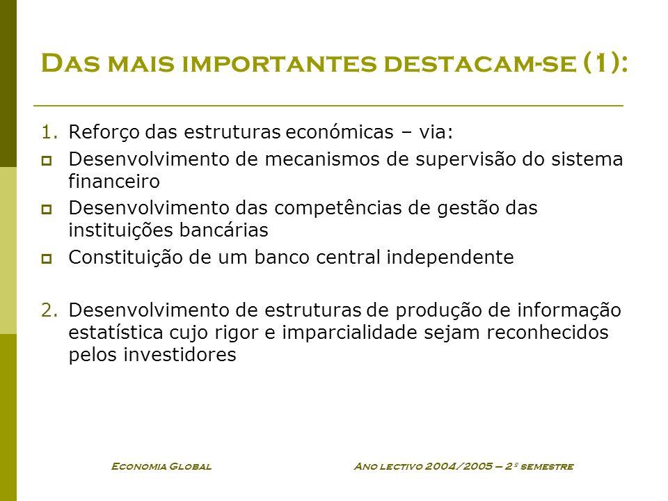 Economia Global Ano lectivo 2004/2005 – 2º semestre Das mais importantes destacam-se (1): 1.Reforço das estruturas económicas – via: Desenvolvimento d
