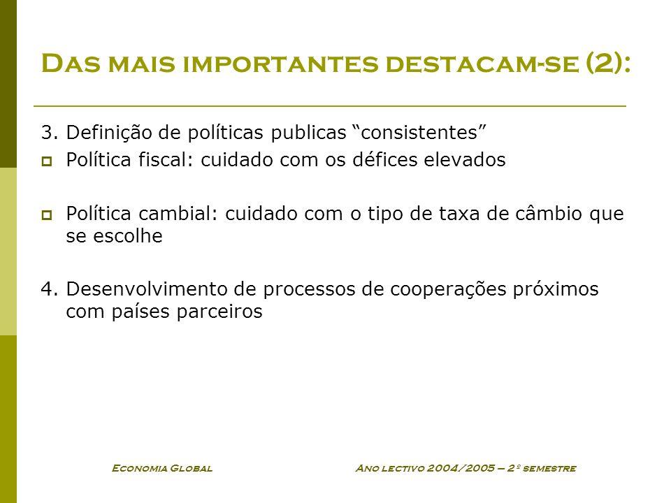 Economia Global Ano lectivo 2004/2005 – 2º semestre Das mais importantes destacam-se (2): 3. Definição de políticas publicas consistentes Política fis