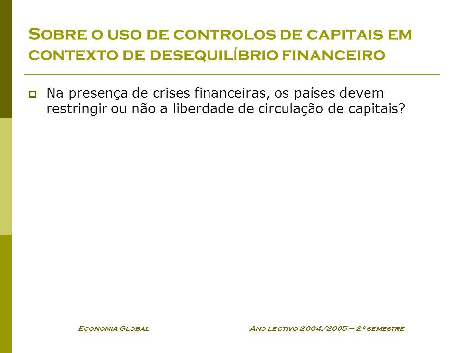 Economia Global Ano lectivo 2004/2005 – 2º semestre Sobre o uso de controlos de capitais em contexto de desequilíbrio financeiro Na presença de crises