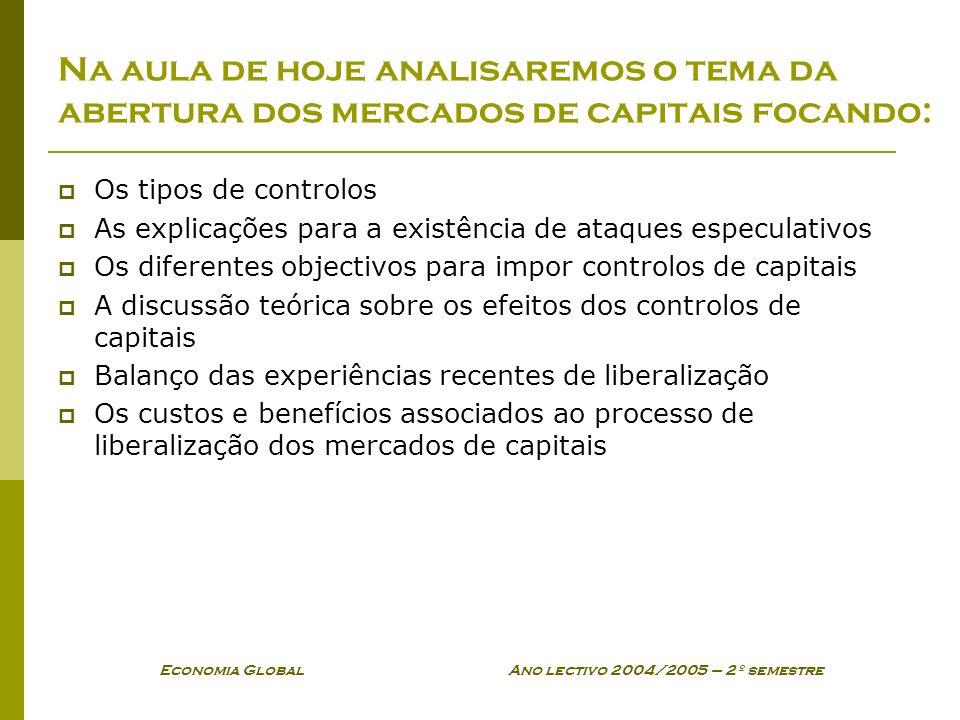 Economia Global Ano lectivo 2004/2005 – 2º semestre Na aula de hoje analisaremos o tema da abertura dos mercados de capitais focando: Os tipos de cont