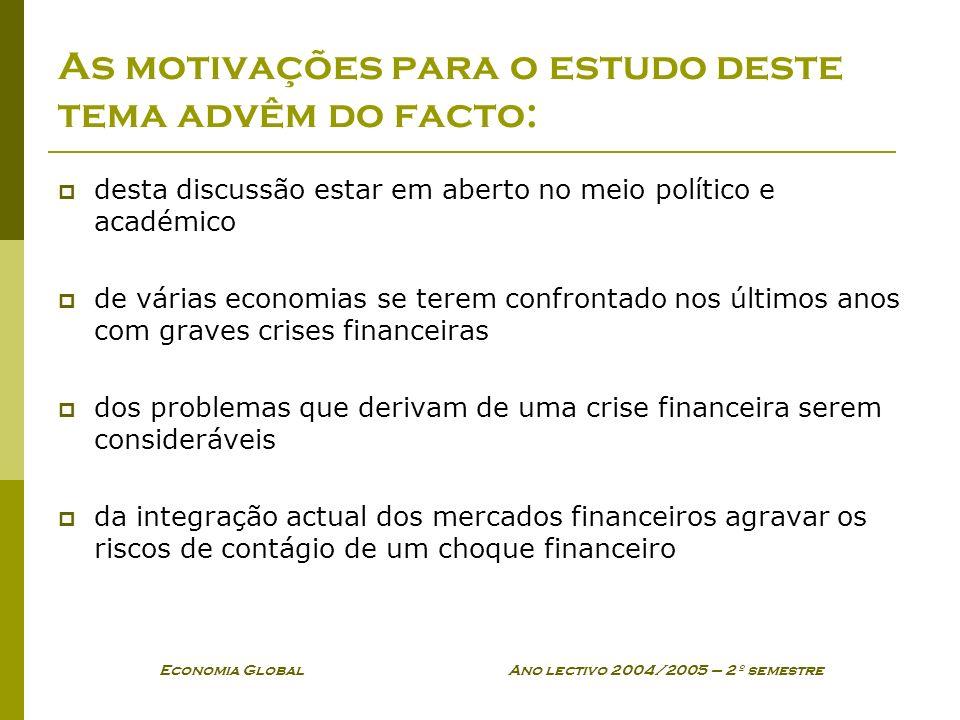 Economia Global Ano lectivo 2004/2005 – 2º semestre As motivações para o estudo deste tema advêm do facto: desta discussão estar em aberto no meio pol