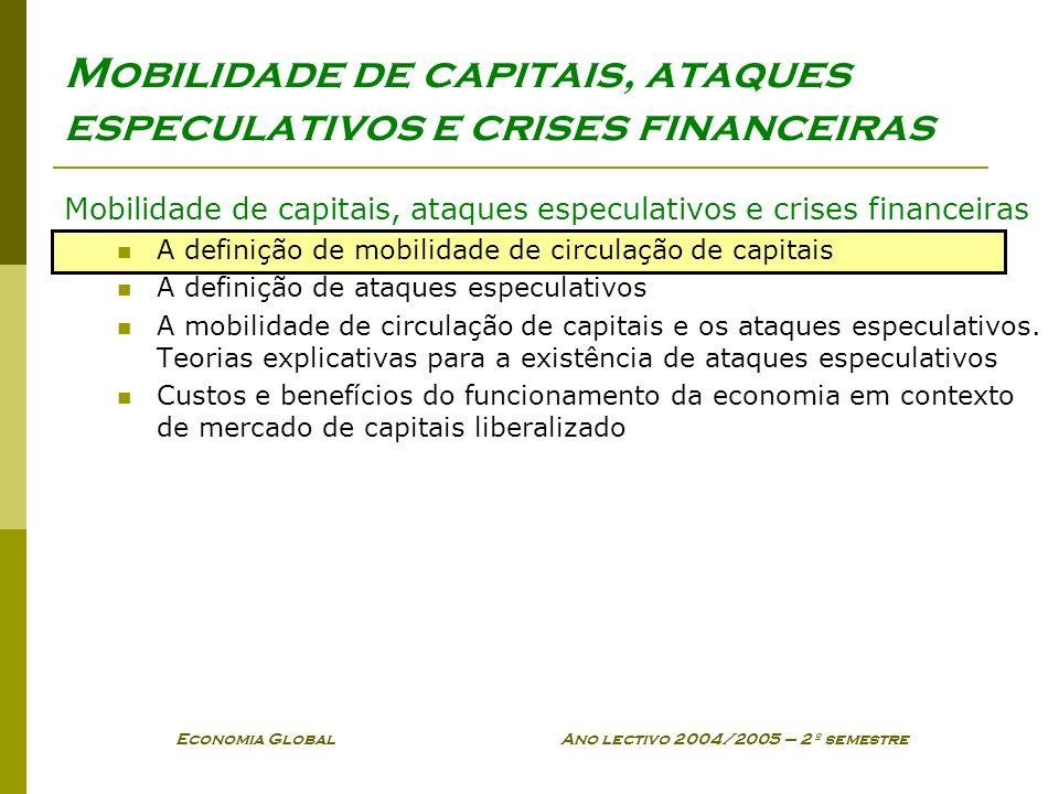 Economia Global Ano lectivo 2004/2005 – 2º semestre Mobilidade de capitais, ataques especulativos e crises financeiras A definição de mobilidade de ci