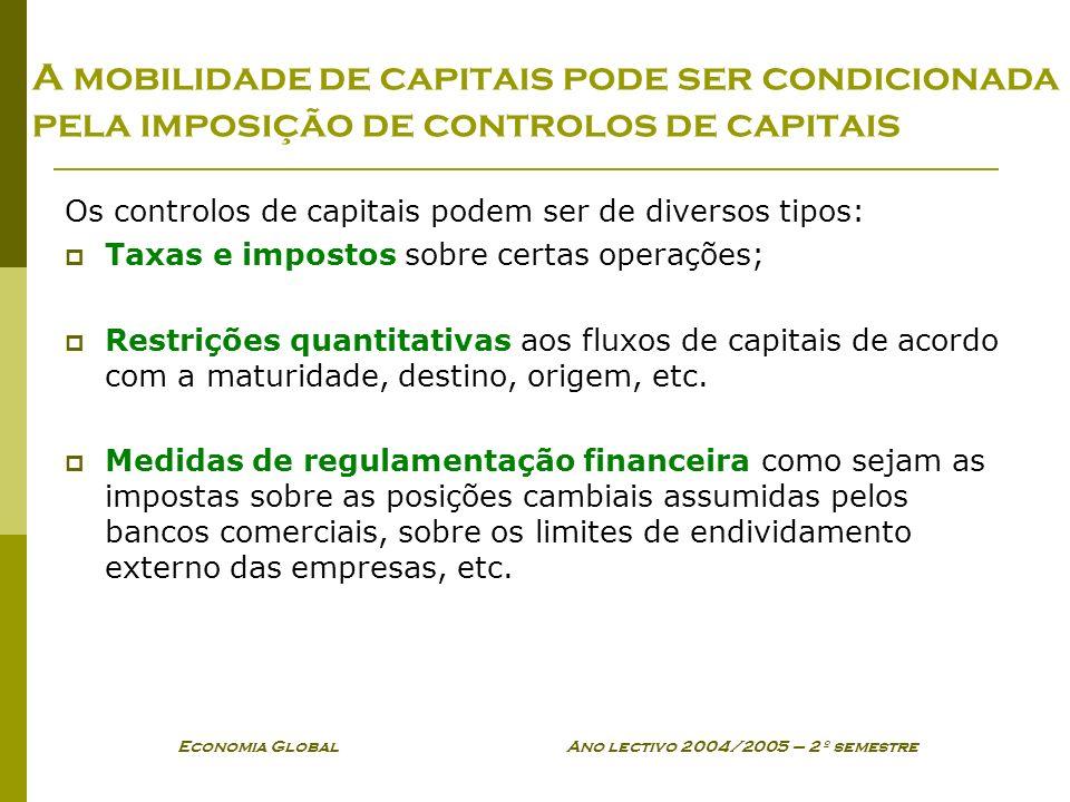 Economia Global Ano lectivo 2004/2005 – 2º semestre A mobilidade de capitais pode ser condicionada pela imposição de controlos de capitais Os controlo