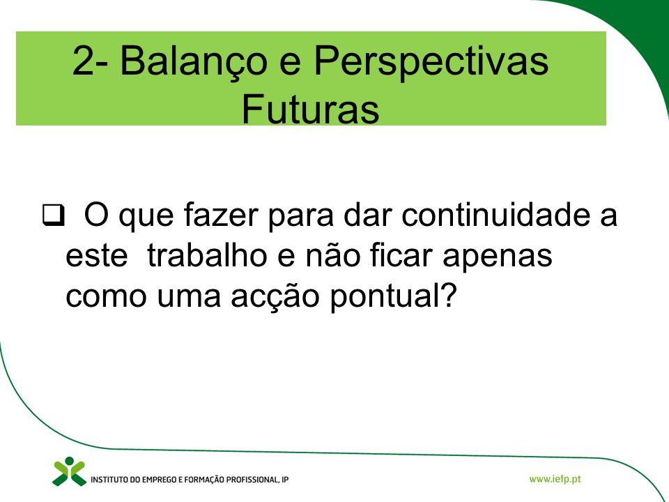 2- Balanço e Perspectivas Futuras O que fazer para dar continuidade a este trabalho e não ficar apenas como uma acção pontual