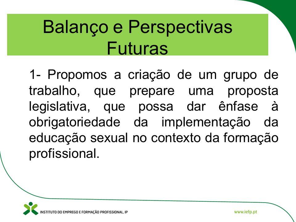 Balanço e Perspectivas Futuras 1- Propomos a criação de um grupo de trabalho, que prepare uma proposta legislativa, que possa dar ênfase à obrigatoriedade da implementação da educação sexual no contexto da formação profissional.
